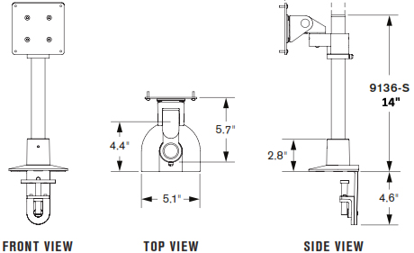 "Drawing of Innovative 9136-S-14 Articulating Flat Panel Mount - 14"" Pole"