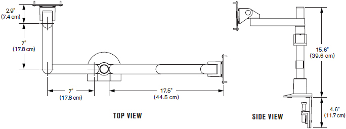 Technical Drawing for Innovative 9163-S-14 Side-by-Side Dual Mount (oversized LCDs)