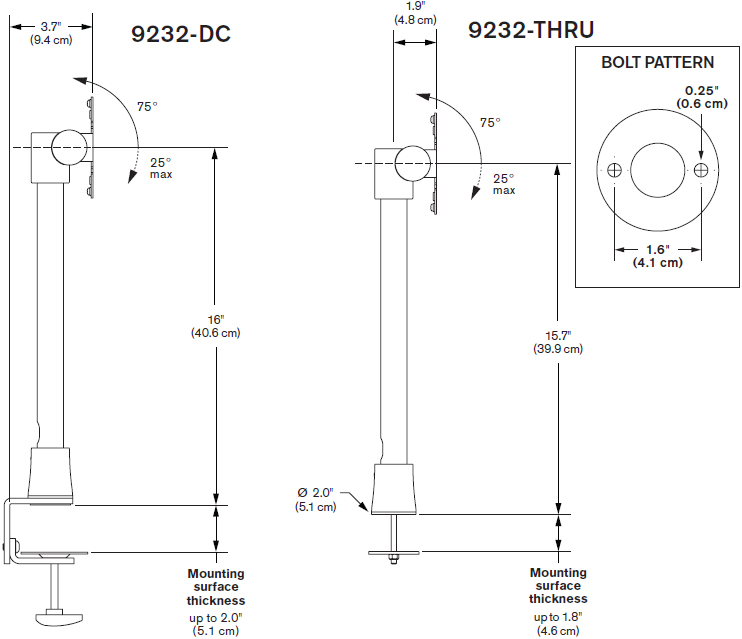 Technical drawing for Innovative 9232-14-THRU Light Duty Pole Mount