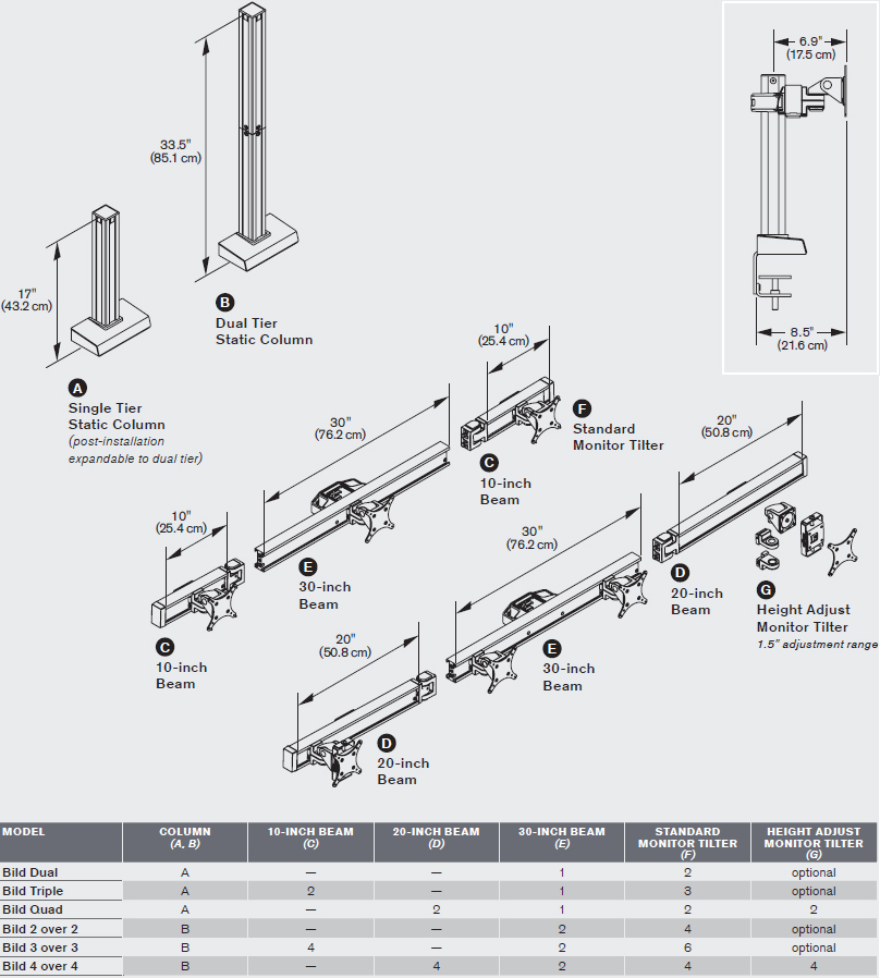 Technical drawing for Innovative BILD-4 Bild Quad Monitor Mount