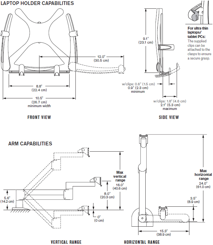 Technical Drawing of Innovative 7000-T Laptop Arm Mount