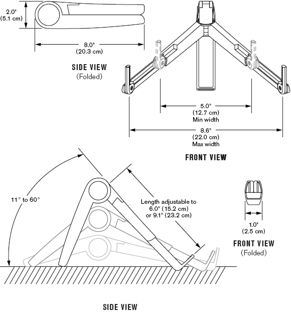 Technical Drawing for Innovative CRKT Cricket Portable Laptop Stand