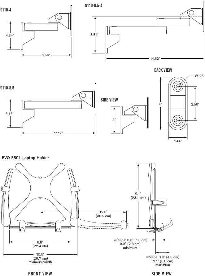 Technical Drawing for Innovative 9110-8.5-QR-EVO5501 Wall Mount Laptop Arm with QR Tilter
