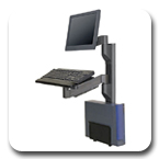 "Innovative 8326-19 Vertical Wall Mounting Track 19"" + 7000 LCD Monitor Arm + 7019-NM Keyboard Arm + 8335-MD CPU Holder"