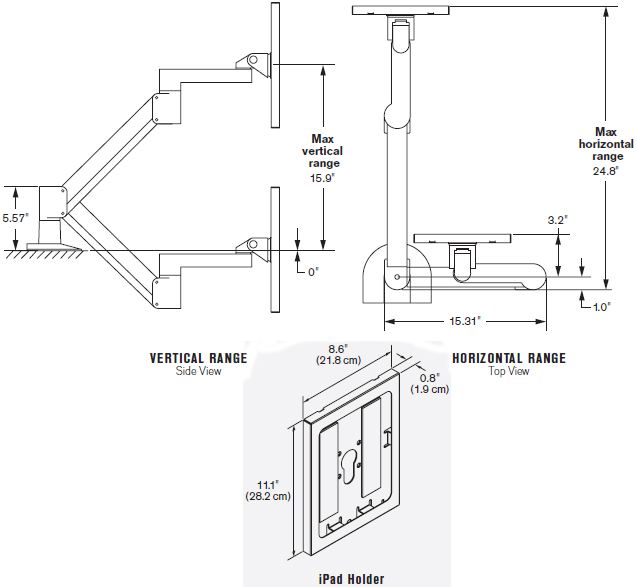Technical Drawing for Innovative 7000-500-NM 7000 Arm with 8424 Secure iPad Holder