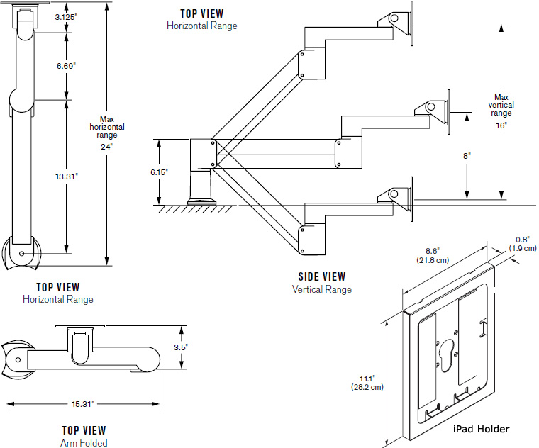 Technical Drawing for Innovative 7Flex-104i-8424 Secure iPad Holder Arm