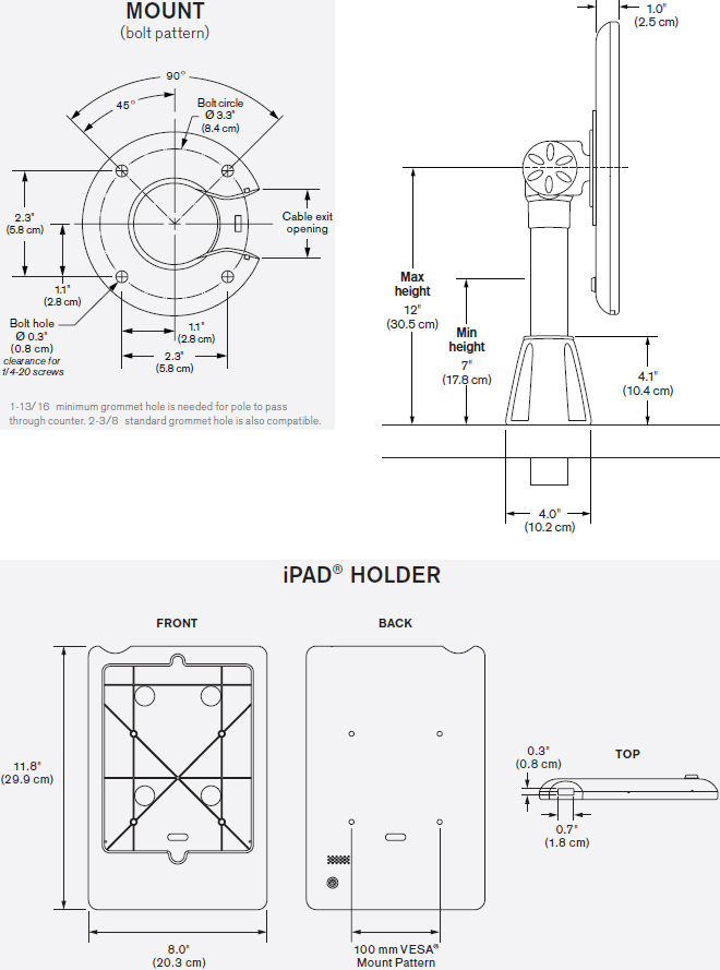 Technical Drawing for Innovative 9189-12-8438 Adjustable POS Mount with Secure iPad Holder