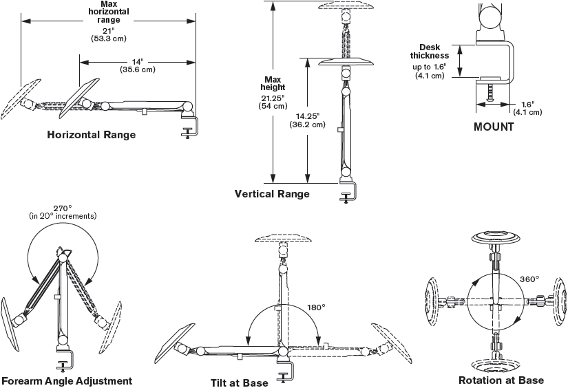 Technical drawing for Innovative TBLK-DC Tablik - Tablet and iPad Arm Desk Mount