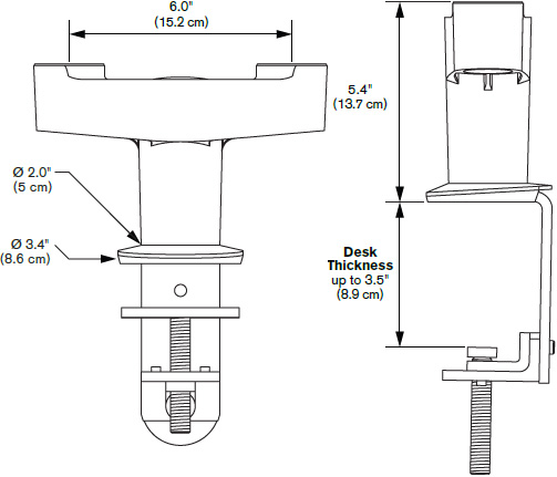 Technical Drawing for Innovative 8408 Dual Arm Mount
