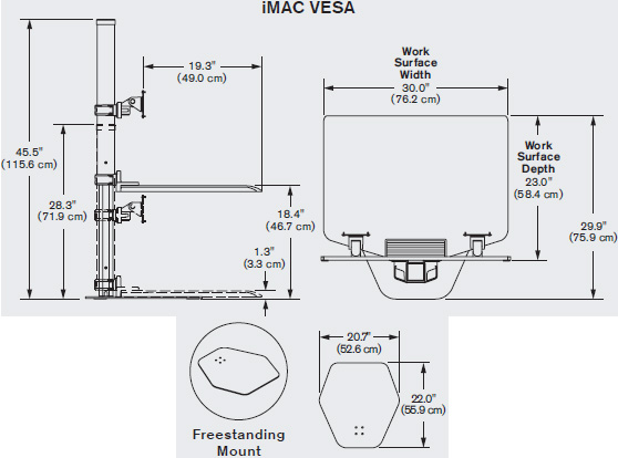 Technical drawing for Innovative Apple iMac VESA Single or Dual Sit-Stand Workstation