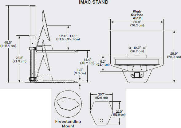 Drawing for Innovative Winston Apple iMac Freestanding Sit-Stand Workstation