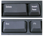 Double wide Escape and Fwd Delete keys of Kinesis Freestyle Solo PC Keyboard