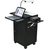 Luxor LMC2 Multimedia Cart with Locking Cabinets and Drawer