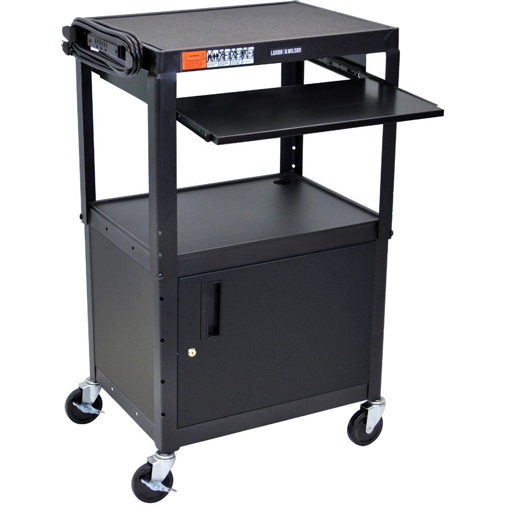 sc 1 st  ErgoDirect.com & Luxor AVJ42KBC Adjustable Steel Cart w/ Cabinet u0026 Pullout KB Tray