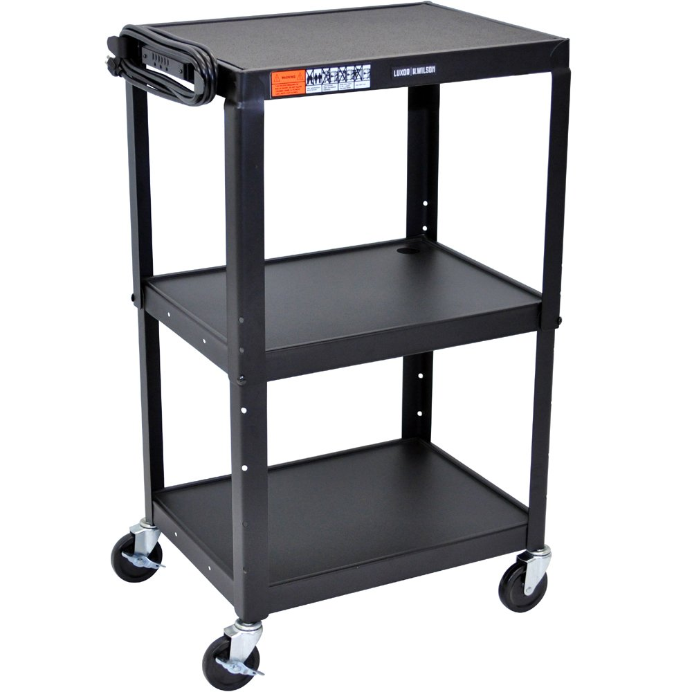 luxor avj42 height adjustable av steel cart three shelves - Av Cart