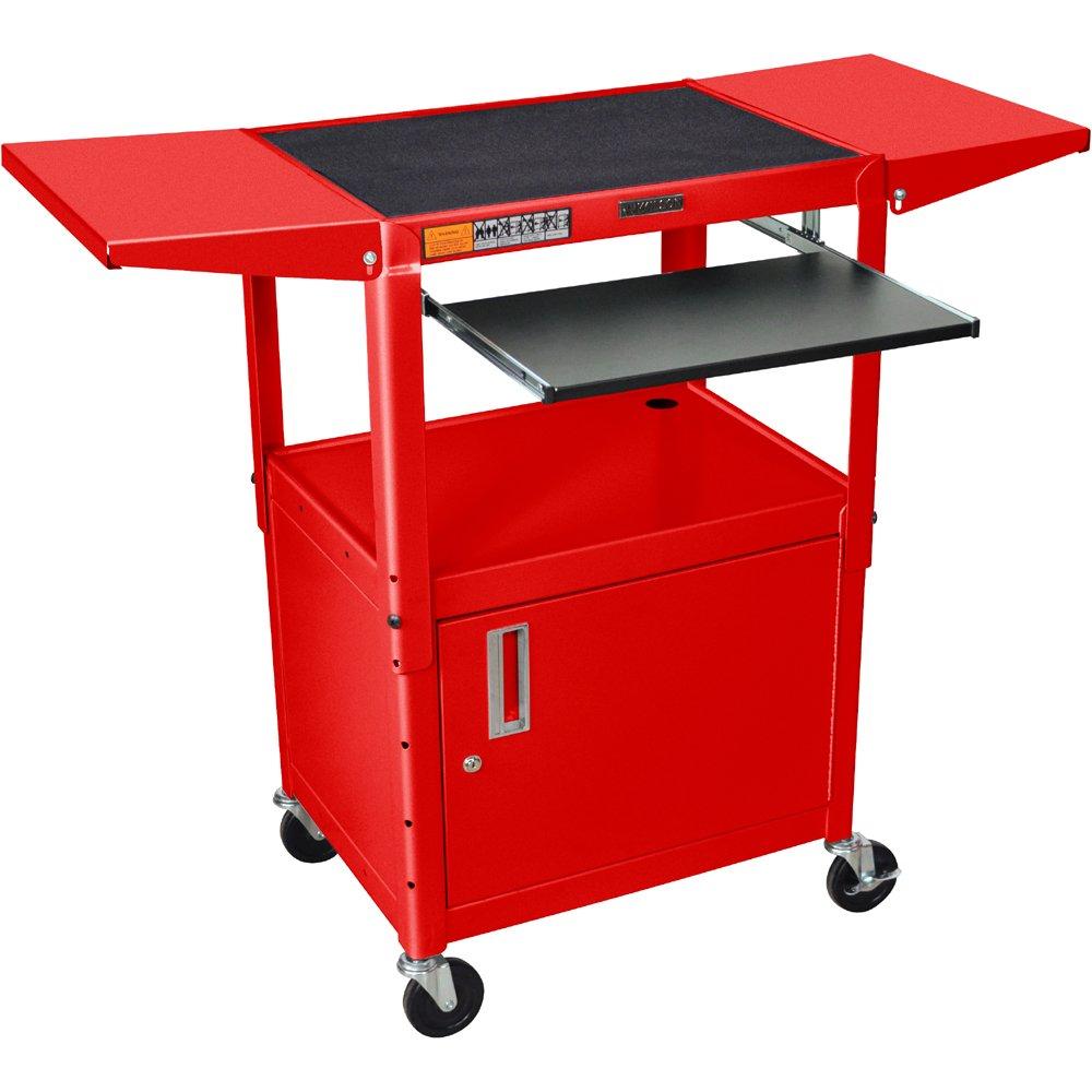 Luxor AVJ42KBCDL Adjustable Steel Cart w/ Cabinet, KB Tray & Drop Leaf