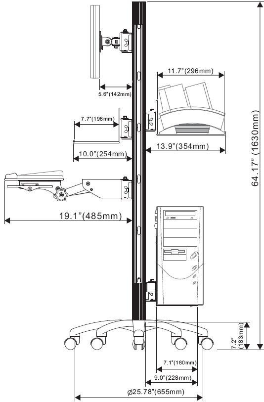 Technical Drawings for Luxor LSCW60 Height Adjustable Mobile Healthcare Cart