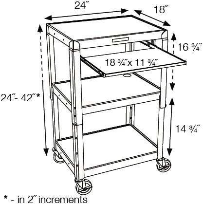 Technical Drawing for Luxor AVJ42KB Height Adjustable Steel Cart With Pullout Keyboard Tray