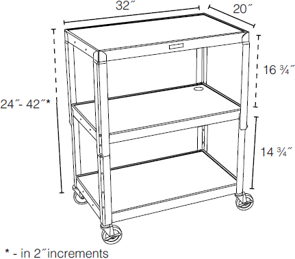 Technical drawing for Luxor AVJ42XL Extra Large Height Adjustable Steel A/V Cart