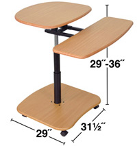"Technical Drawing for Luxor LAMC2936 Height Adjustable (29-36"") Mobile Workstation"