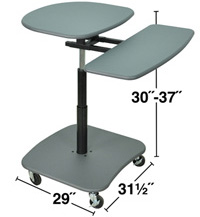 "Technical Drawing for Luxor LAMC3037 Height Adjustable (30-37"") Computer Mobile Desk"