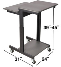 Technical Drawing for Luxor PS3945 Mobile Height Adjustable Presentation Station