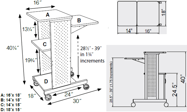Technical Drawing for Luxor PS4000C Mobile Presentation Station with Locking Cabinet