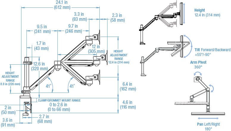 Technical drawing for 3M MA240MB Easy Adjust Monitor Arm