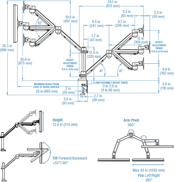 Technical drawing for 3M MA260MB Easy Adjust Dual Monitor Arm