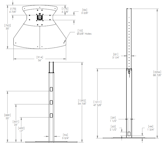 Technical Drawing for Chief QMP1FB Fixed Base Music Production Center Stand