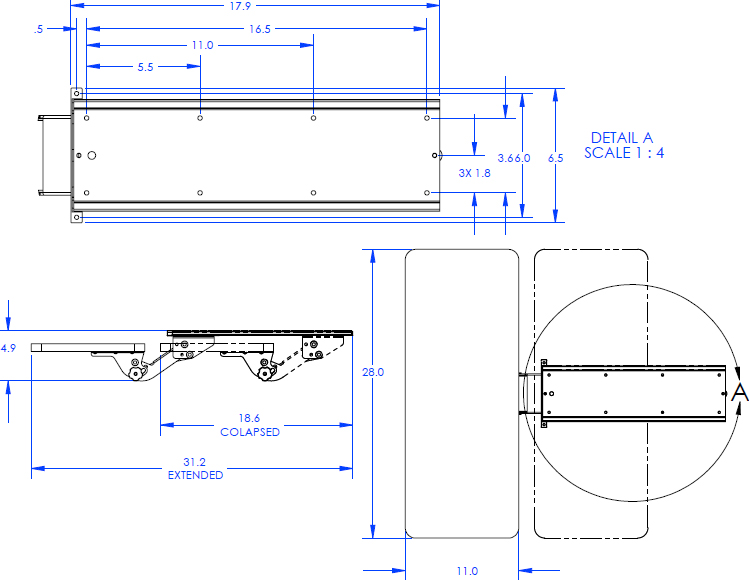 Technical Drawing for Chief QMP1KB or QMP1KH Keyboard Tray for Music Production Center