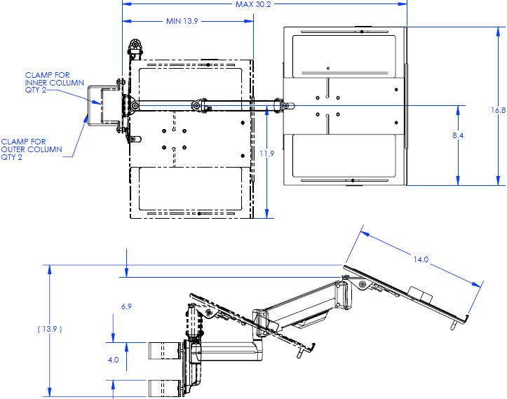 Technical Drawing for Chief QMP1L Laptop Shelf for Music Production Center