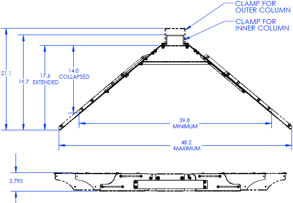 Technical Drawing for Chief QMP1MK Music Stand Keyboard