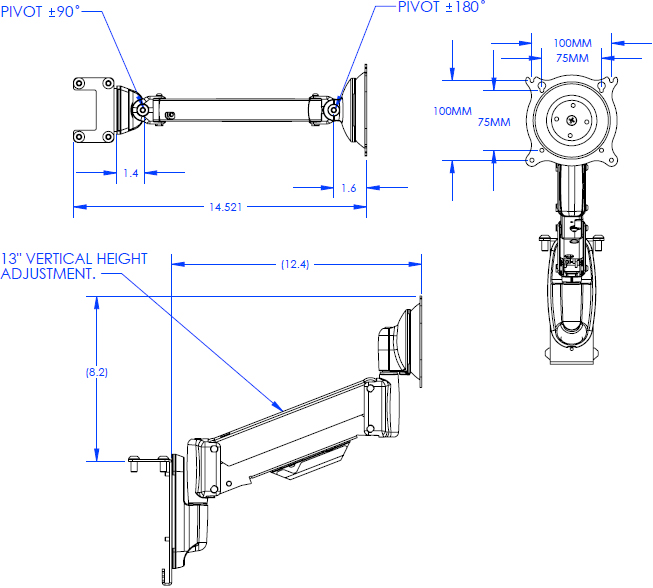 Technical Drawing for Chief QMP1MM1 Single Monitor Mount for Music Production Center