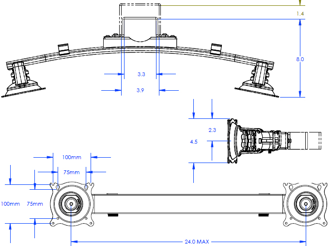 Technical Drawing for Chief QMP1MM2 Music Stand Dual Monitor Mount