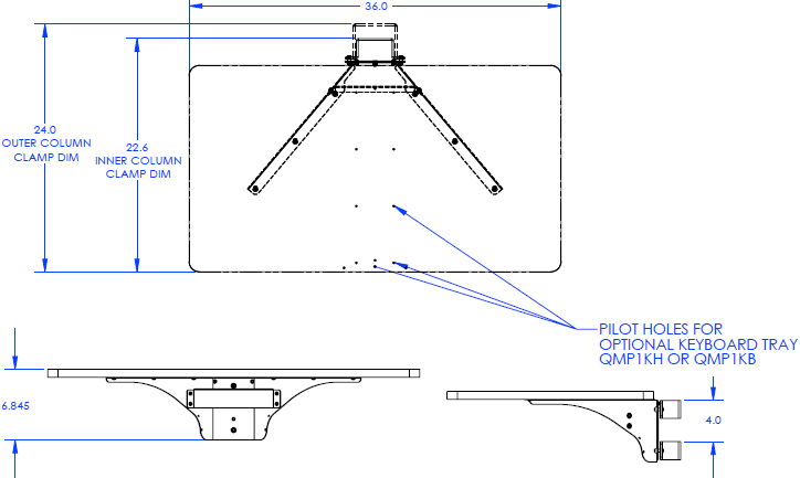 Technical Drawing for Chief QMP1T Tabletop for Music Production Center
