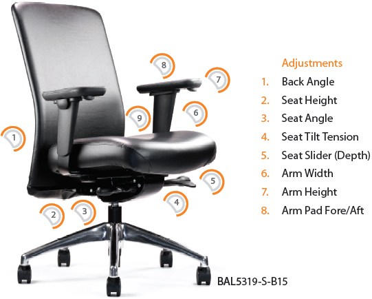 Neutral Posture Balance BAL5350 Executive Conference Seating and Task Stool BAL5300