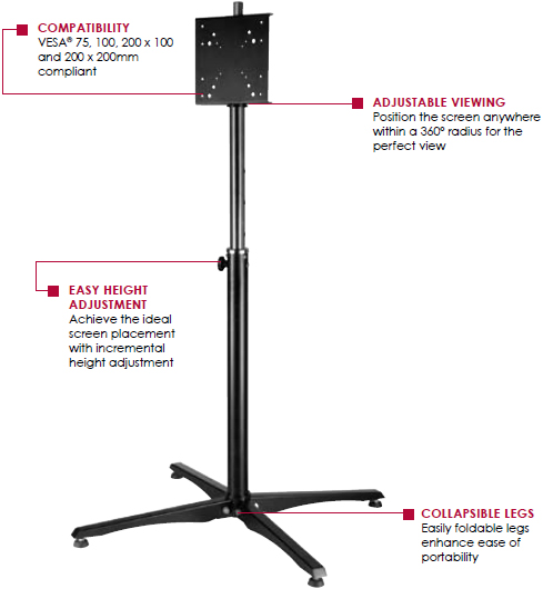 Peerless FPZ640 Height Adjustable Practico Portable Stand