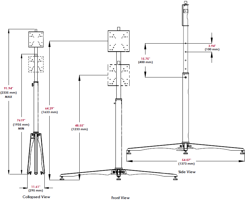 "Technical Drawing of Peerless FPZ-640 Practico Flat Panel Stand up to 42"" Display"