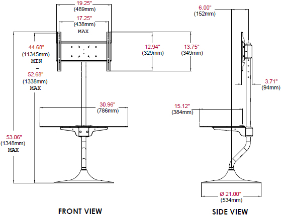 "Technical Drawing of Peerless FPZ-646 Flat Panel Stand for 32""-46"" Displays"