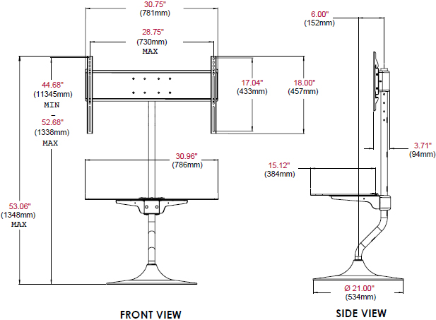 "Technical Drawing of Peerless FPZ-655 Flat Panel Stand for 32""-55"" Displays"