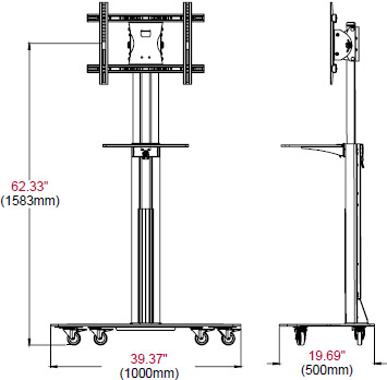 "Technical Drawing of Peerless SC550GL SG5 Series Floor Cart for 42""-58"" Displays up to 150 lbs with Glass Base"