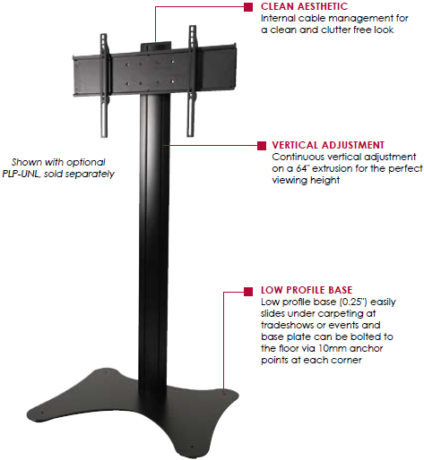 "Technical Drawing of Peerless SS560F Floor Stand for 32""-65"" Displays up to 150 lbs with Base Plate"