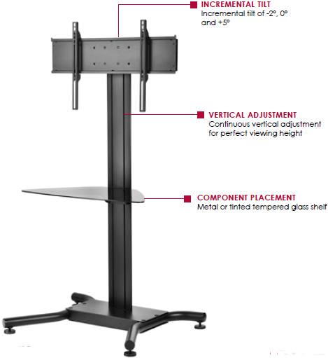 "Peerless SS-560G Floor Stand for 32"" to 65"" Displays up to 250 lbs with Tempered Glass Shelf"