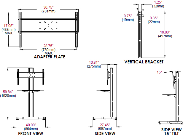 "Technical Drawing of Peerless SS560G Floor Stand for 32""-65"" Displays up to 250 lbs with Glass Shelf"