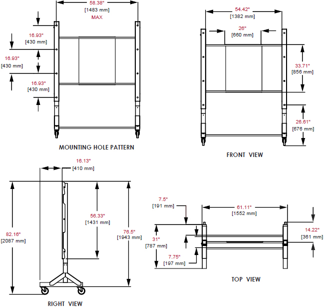 Technical Drawing for Peerless DS039 Largest Flat Panel Display Cart or Stand
