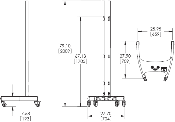 Technical Drawings for Premier PSD-EB72C Elliptical Floor Cart Stand with Poles