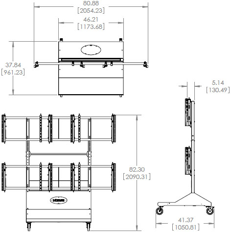 Technical Drawing for Premier MVWC-2X2 Mobile Video Wall Cart