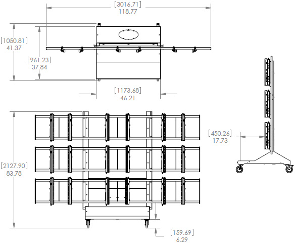 Technical Drawing for Premier MVWC-3X3 Mobile Video Wall Cart