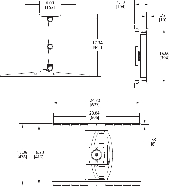 Technical Drawings for Premier AM80 Articulating Swingout Wall Mount Arm